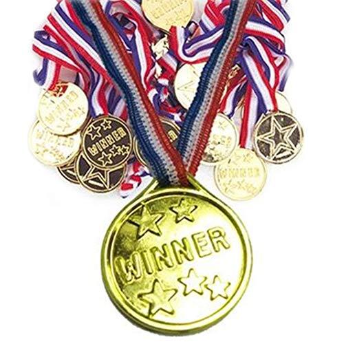 Kinder Sieger Gold Kunststoff Medaillen Olympischen Stil Gewinner Goldmedaille am Bande für Kinder Party, Spiel Spielzeug, Auszeichnungen Packung mit 100 Toy and Games