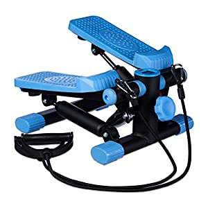 Relaxdays Stepper, verstellbarer Widerstand, mit Expander, Tacho und Schrittzähler HBT: 170 x 31 x 33 cm, schwarz-blau