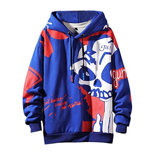 Xmiral Herren Pullover mit Kapuze Grimasse Drucken Hippie Kapuzenpulli Sweatshirts Herbst Winter Dick Fleece innen Warm Jacke(Blau,XL)