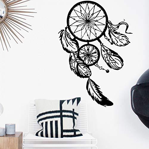 GUDOJK Etiqueta de la Pared Diseño de Arte Atrapasueños Vinilo Etiqueta de la Pared Decoración para el hogar Plumas Noche Símbolo n Calcomanía Dormitorio Sala de Estar Atrapa sueños