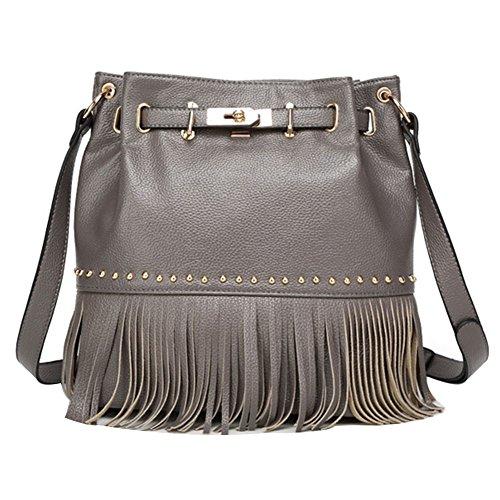 Moda Donna Nappa Borse A Spalla Crossbody Bag Borse Tote Borsa Messenger Grigio
