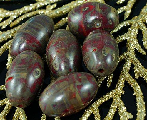 Rustico di Grandi dimensioni Grosso Picasso Rosso di Vetro ceco Breve Tubo di Oliva Perline (20 Mm Ceramica)