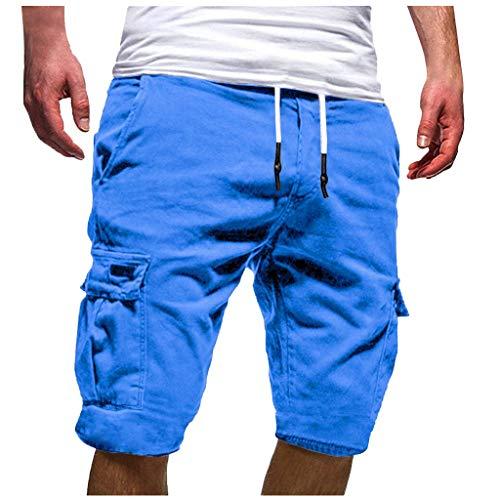 orts Sommer Bermuda Kurze Hose Chino Jogger Hose (Blau, Medium) ()