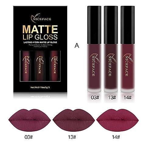 Rechoo Set de 3 Couleurs Maquillage Waterproof à Lèvres Mat Liquide Beauté Rouge à Lèvres Lip Gloss Liquid Matte Longue Tenue Gloss Lipstic A