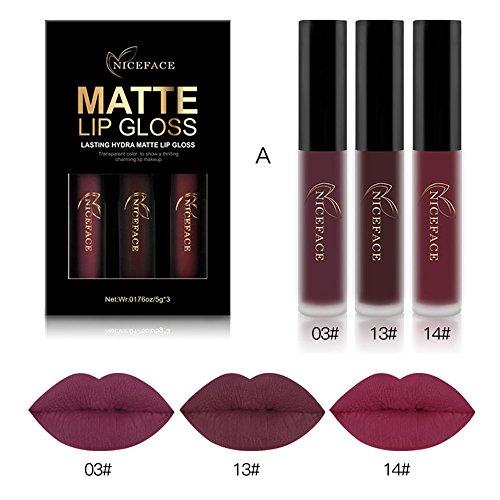 Rechoo Set de 3 Couleurs Maquillage Waterproof à Lèvres Mat Liquide Beauté Rouge à Lèvres Lip...