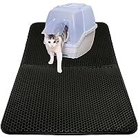 Unterlage für katzenklo katzentoilette vorleger Katzenklo matte katzenstreu matte für Katzen Extragroße 75 x 55 cm Doppelte Struktur Matte Wasserdicht schwarz
