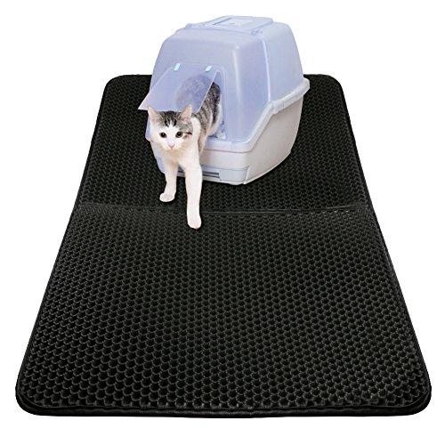 Unterlage für katzenklo katzentoilette vorleger Katzenklo matte katzenstreu matte für Katzen Extragroße 75 x 55 cm Doppelte Struktur Matte Wasserdicht - Katzenklo Katzen Für Matte