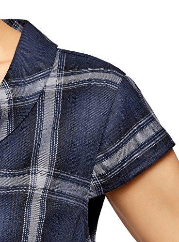 oodji Ultra Damen Gerade Geschnittenes Kleid mit Seitentaschen Blau (7923C)
