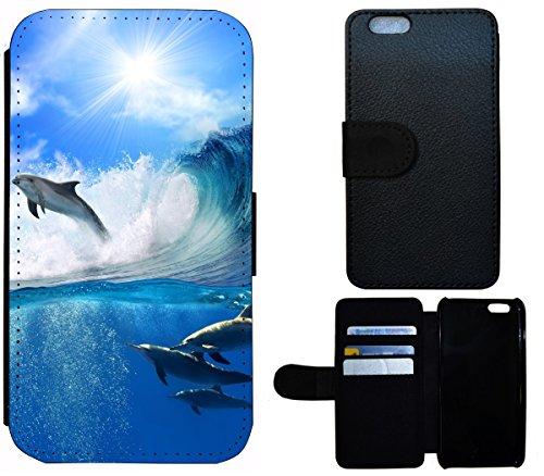 Flip Cover Schutz Hülle Handy Tasche Etui Case für (Apple iPhone 5 / 5s, 1524 Elefant Sonnenuntergang Afrika) 1526 Delphin Delfine Meer Blau Grau