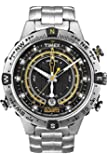 Timex Intelligent Men's T2N738 Quartz Tide-Compass-Temp Watch with Black Dial Analogue Display and Silver Stainless Steel Bracelet