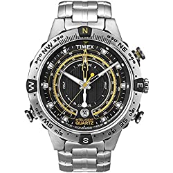 Timex Men's Special Intelligent Quartz Tide-Temp-Compass Quartz Watch with Black Dial Analogue Display and Silver Stainless Steel Bracelet T2N738