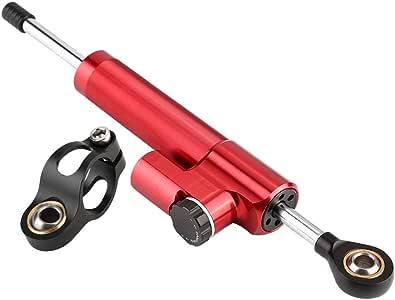 KIMISS Stabilizzatore ammortizzatore di sterzo universale per moto Ammortizzatore di sterzo in lega di alluminio Ammortizzatore di sterzo di sicurezza rosso