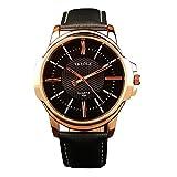 YaZhuoLun Herren Quarzuhr Armbanduhr Legierung PU-Leder Wasserdicht Uhren Uhr Geschäftsuhr(Schwarz)