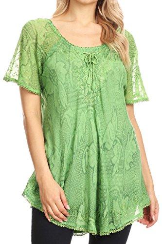 Sakkas 16788 - Maliky Wide Korsett Neck Floral Bestickt Cap Sleeve Bluse Top Shirt - Grün - OS -