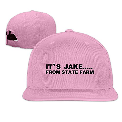 hittings-its-jake-from-state-farm-adjustable-hats-flat-brim-baseball-caps-pink