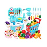 Xiaomei 2 Arten von Kinderspielzeug für die Simulation von Küchengeschirr einschließlich Einkaufswagen-Simulations-Kuchenspiel (Farbe : Blau)
