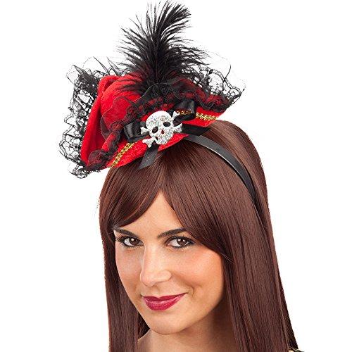 Minihut Piratin mit Haarreif, schwarz/rot (Damen Piraten Accessoires)