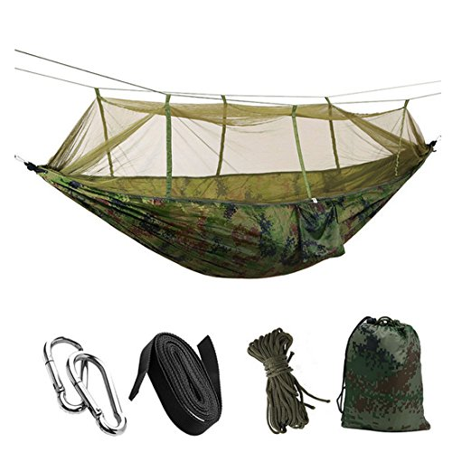 Partiss Portable Single-Person Moskitonetz Haengematte Haengebett fuer Outdoor, Strandurlaub, Wandern, Reisen, Hinterhof(260*140cm, Camo) Camo Moskitonetz