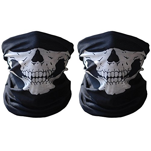 Kuyou Masken Skull 2 Stücke Gesichtsmasken für Motorrad Fahrrad Ski (Fisch Männer Für Kostüme)