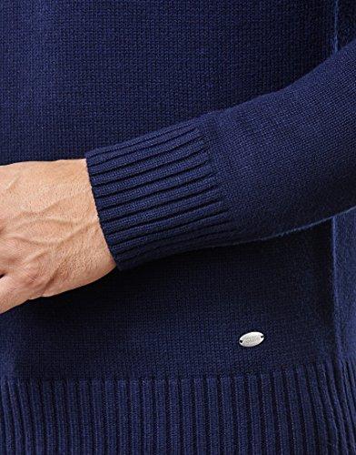 Vincenzo Boretti Herren-Pullover Troyer mit Stehkragen slim-fit tailliert Strick-Pullover einfarbig Baumwolle-Mix edel elegant warm dick Grob-Strick für Business oder Casual Dunkelblau