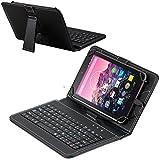 Navitech Schwarz bycast Leder Stand mit deutschem Qwertz Keyboard mit Micro USB für dasThe Avoca 7 Inch Tablet by Car
