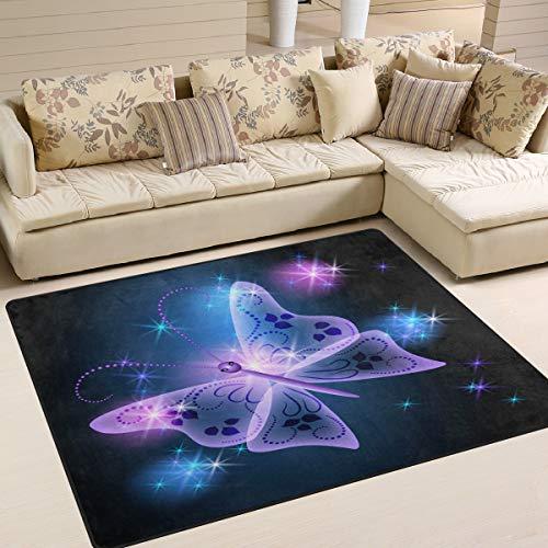 Use7 - Alfombra Abstracta con diseño de Mariposas y Estrellas para Sala de Estar o Dormitorio, Tela...