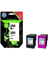 HP 300 Lot de 2 Cartouches d'Encre Noir et Trois Couleurs (Cyan, Magenta, Jaune) Authentiques