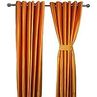 Par de cortinas de seda sintética, con anillas, forro y 2alzapaños, dorado naranja, 90in x 108in (229cm x 275 cm)ÿ