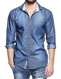Lafantar Men's Slim Fit Denim Shirt - 7 Style Options