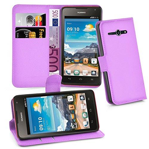 Cadorabo Hülle für Huawei Ascend Y530 Hülle in Mangan Violett Handyhülle mit Kartenfach und Standfunktion Case Cover Schutzhülle Etui Tasche Book Klapp Style Mangan-Violett