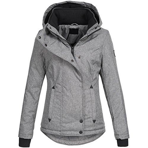 Ausnahme-Zustand Azuonda Damen Jacke Winterjacke Parka Winter warm gefüttert XS-XXL AZ35, Farbe:Hellgrau, Größe:M / 38