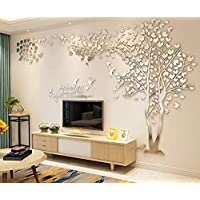 Kaliya DIY 3D Huge Couple Tree Wall Stickers Crystal Acrylic Wall Decals Wall Murals for Living Room Bedroom Nursery Home Decoration(Right,L)