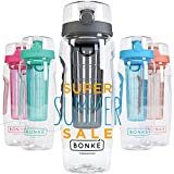Bonke Fruit Infuser Water Bottle - Free Infused Water Ebook - 3 in 1 - Large 1 Litre - BPA Free Plastic & Eco Friendly Rubber Grip with Extra Safe Locking System Prevents Spills & Leaks