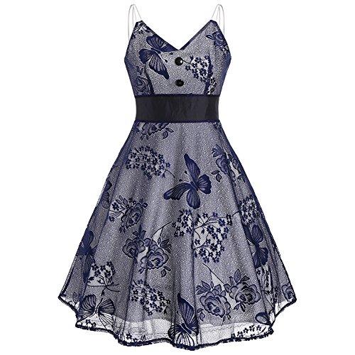 iShine elegante Sommerkleid Damen Knielang Trägerkleid V-Ausschnitt Ärmellos Vintage Kleid Rockabilly Partykleid Cocktailkleid Dunkelblau