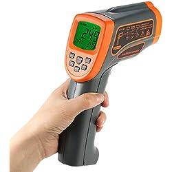 KKmoon -18~1350℃ 50:1 Thermomètre infrarouge Sans contact LCD USB Portable Digital Temperature Tester Pyromètre avec Rétroéclairage Centigrade Fahrenheit Emisivité Réglable Stockage de Données