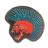 Parches - Punk calavera Biker - rojo/azul - 8.5x7.6cm - termoadhesivos bordados aplique para ropa