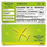 Einladungskarten zum Geburtstag (50 Stück) als Flugticket Ticket Karte Einladung in Grün