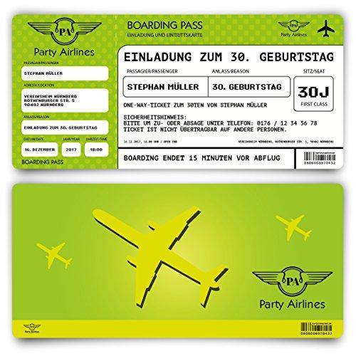 Preisvergleich Produktbild Einladungskarten zum Geburtstag (30 Stück) als Flugticket Ticket Karte Einladung in Grün