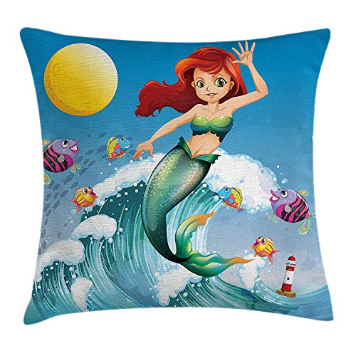 shion Cover, Illustration of Cute Little Mermaid on top of a Big Wave in The Surf with Fish Kids Decor, Decorative Square Accent Pillow Case, 18 X 18 inches, Multi ()