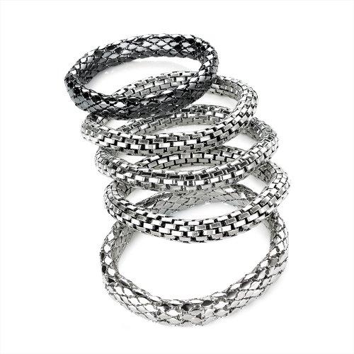 5 Stücke Set Kettenhemd Armband Silber
