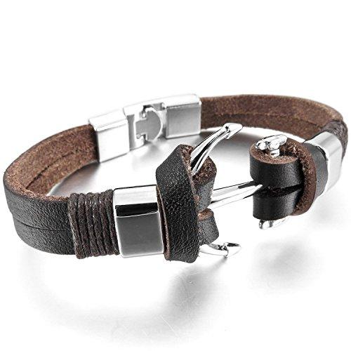 mendino pulsera, hecha a mano, aleación/cuero, ancla, estilo de motero