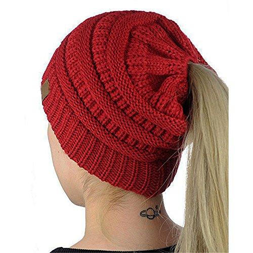 Holeider Beanie Mütze Damen Mädchen Winter | Pferdeschwanz Mütze Strickmütze Wintermütze mit Zöpfen Loch Einfarbig Gestrickt Wolle Kopfbedeckungen Hüte Caps
