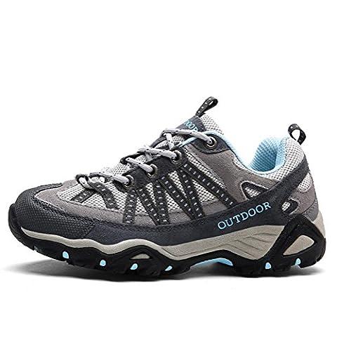 Chaussures de randonnée en cuir et en cuir pour hommes / femmes chaussures de trekking antidérapantes d'automne et d'hiver légères et respirantes , Gray ,