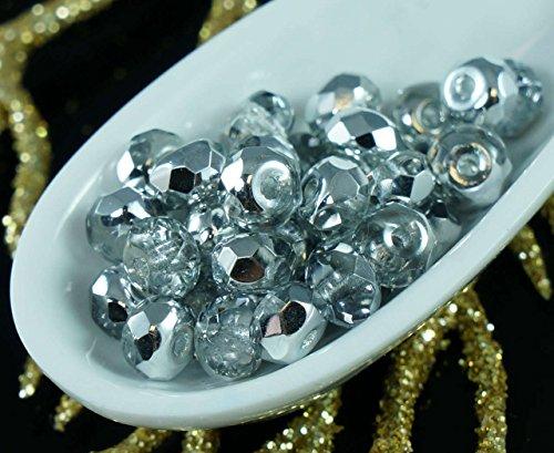D'Argento di cristallo di Vetro ceco Rondelle Sfaccettate Fuoco Lucido Perle 5mm x 3mm 40pcs