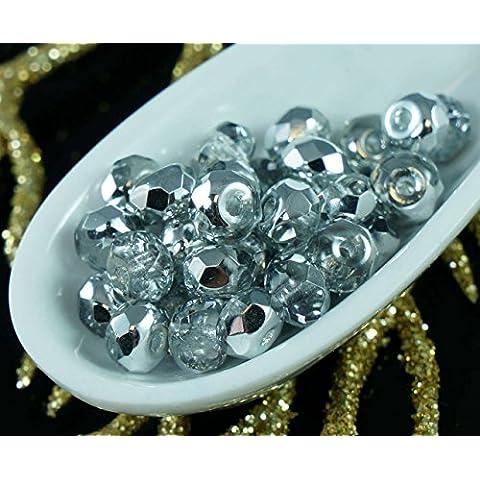 D'Argento di cristallo di Vetro ceco Rondelle Sfaccettate Fuoco Lucido Perle 5mm x 3mm (Perline Di Cristallo Di Sfaccettatura)
