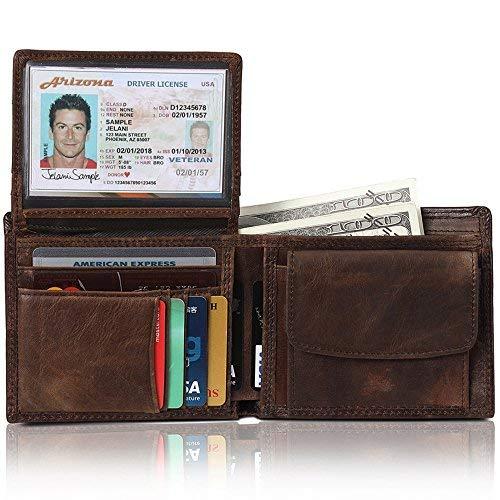 Fezhiomu RFID clásico original Bifold de hombre Cartera de cuero genuino y E stuche para portatarjetas de crédito con caja de regalo