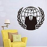 ONETOTOP Stemma Anonimo Internet Hacker Adesivo murale Camera dei Bambini Camera da Letto Protesta Online Simbolo Geek Decorazioni murali Vinile Decorazioni per la casa 50 * 56 cm