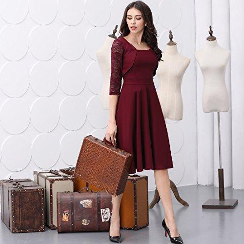 Miusol? Damen Abendkleid Elegant Cocktailkleid Vintage Kleider 3/4 Arm mit Spitzen Knielang Party Kleid Weinrot Gr.S - 6