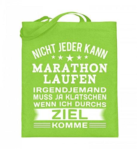 Hochwertiger Jutebeutel (mit langen Henkeln) - Marathon Laufshirt Damen Lime Green