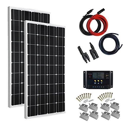 200 Watt Wohnmobil Solar-panel (Giosolar Solaranlage 200 Watt (2X100W) Solaranlage Basic-Starter 12V - Solar Bausatz -Gartenhaus Neu Solar Garten Set Camping Wohnmobil Inselsystem Solarzelle-Solarset Komplette)